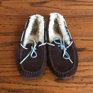 Ugg Brown suede Dakota sheepskin slipper shoes 8